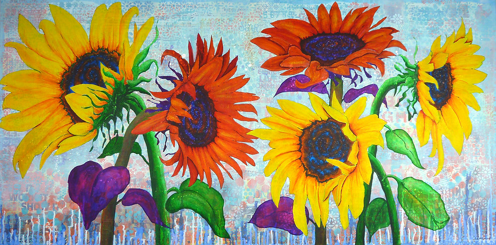 MIxed Media sunflower painting