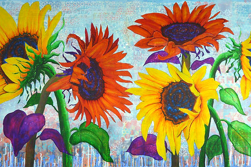Sunflowers for Elise mixed media painting