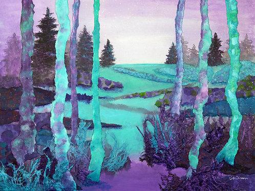 Aah Fresh Air original mixed media landscape painting