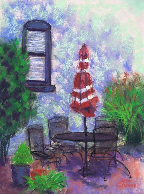 Courtyard Secuction original pastel painting
