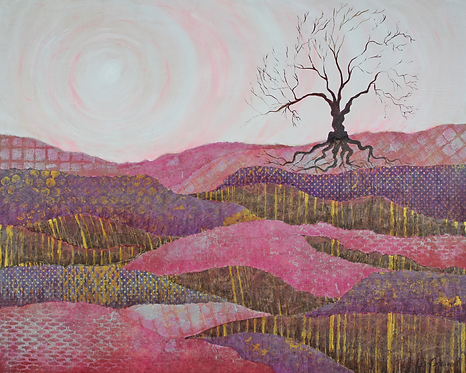 Gnarly Pink Waves mixed media landscape painting