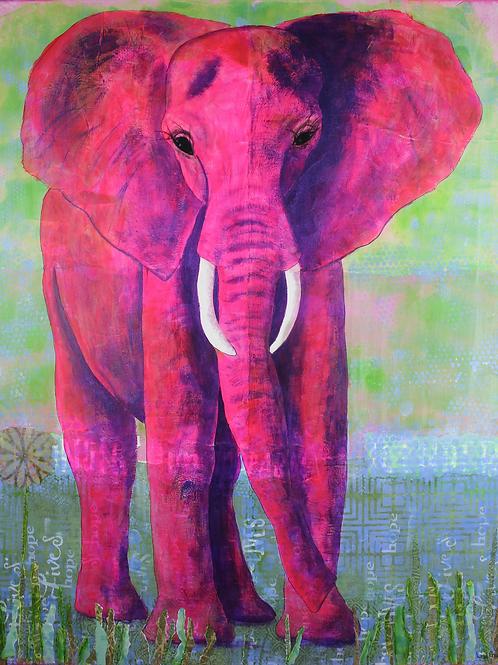Wise Elegance pink elephant mixed media painting