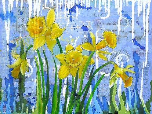 Daffodil Ding Dongs original mixed media painting