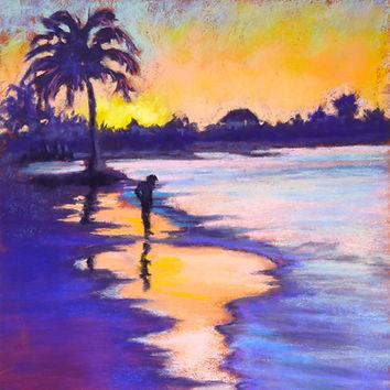 Sunset on the Beach pastel canvas print