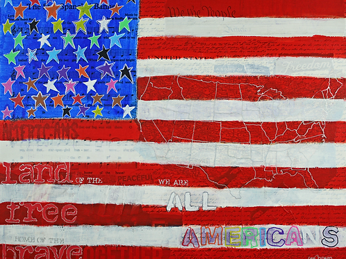 All Americans original painting American Flag