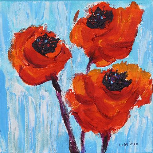 3 Poppies original painting