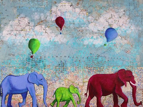 Oh the places you'll go, elephants, balloons mixed media painting