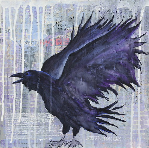 Midnight Lore original painting The Raven