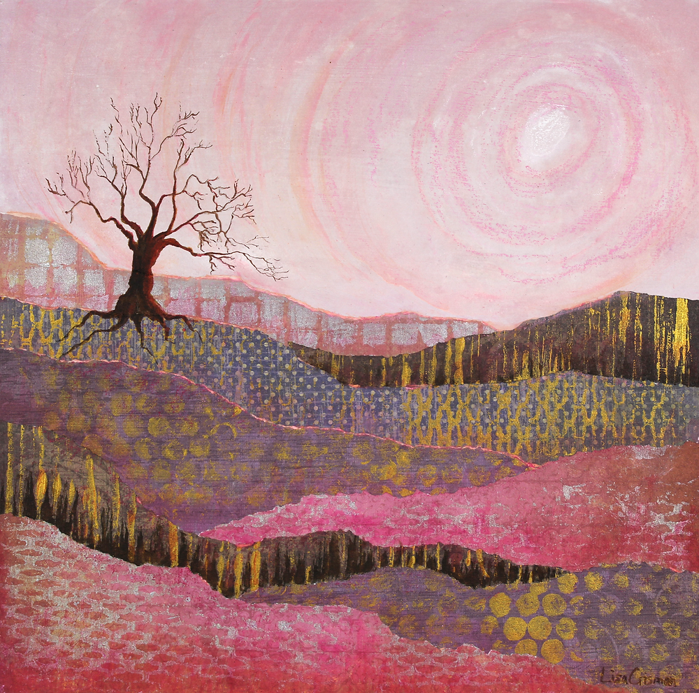 A Good Place to Be mixed media painting
