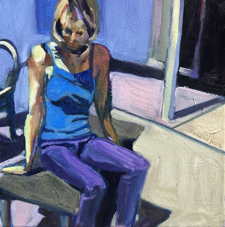 seated in blue