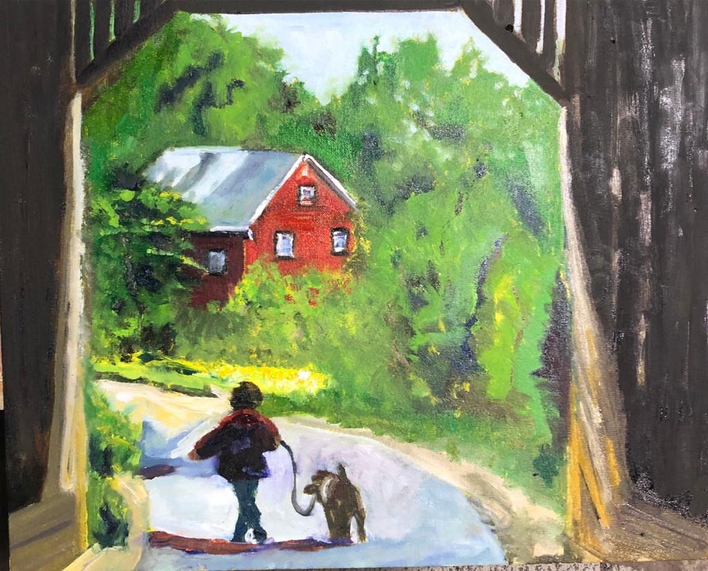 covered bridge with dog