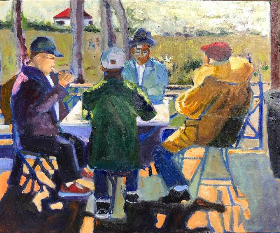 Best of friends 18_ x 20_ oil on panel.j