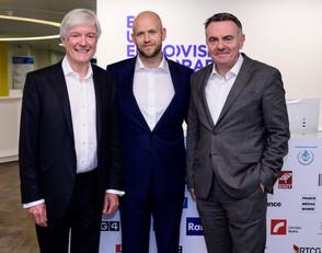 Tony Hall (EBU,BBC), Daniel Ek (CEO & Co-Fondateur Spotify), Noel Curran (EBU), EBU General Assembly, Décembre 2019