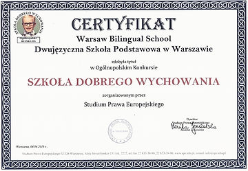 Szkoła Dobrego Wychowania - certyfikat