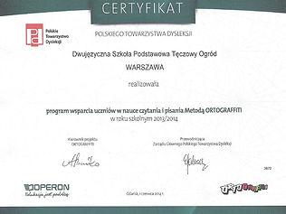 Ortograffiti - certyfikat