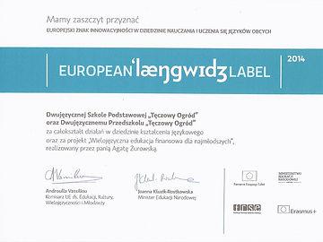 European Language Label - certyfikat