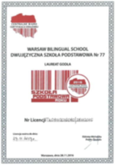 Szkoła Podstawowa Roku 2016 - certyfikat