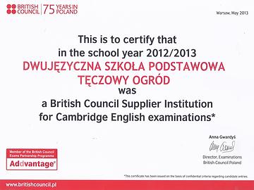 British Council - certyfikat