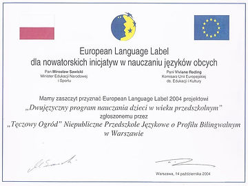 European Language Label - certyfikat