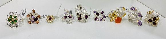 White Gold Plated Sterling Silver Rings Genuine Stones