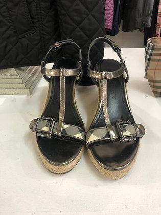 Burberry Metallic Espadrille Wedges