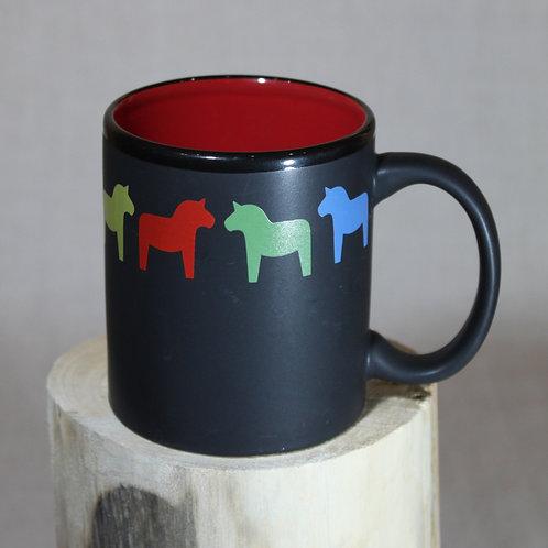 Black Dala Horse Mug - Red