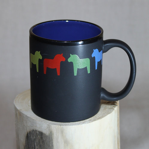 Black Dala Horse Mug - Blue