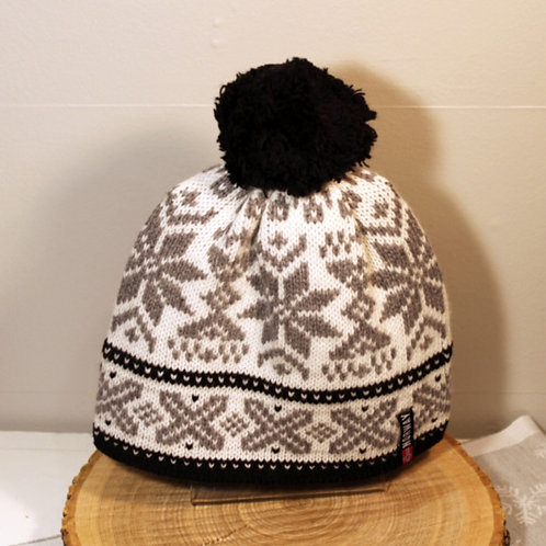 Rokk Norway Stocking Cap with Pom - Black & White