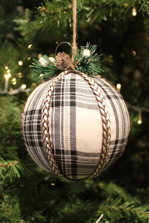 """5"""" Plaid Ball Ornament"""