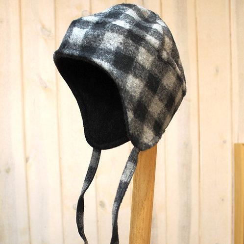 Buffalo Plaid Flap Hat - Gray