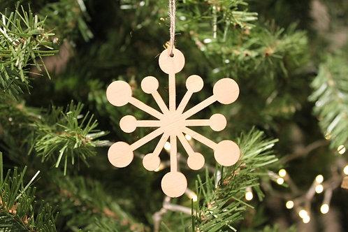 Wood Laser-cut Snowflakes - Circles (Small)