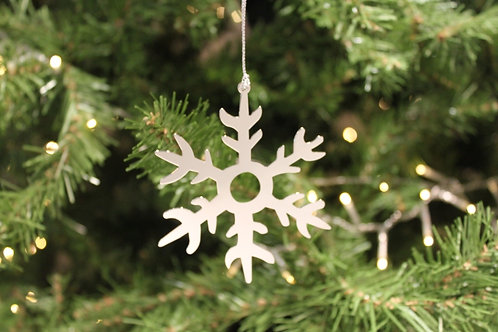 Silver Snowflake Metal Ornament