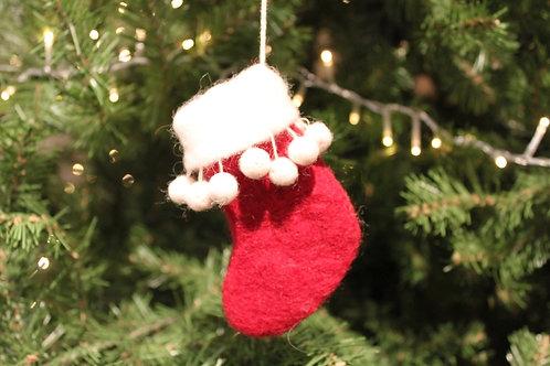 Felt Mini Stocking Ornament - Red