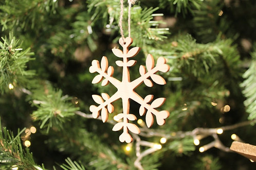 Wood Laser-cut Snowflakes - Flower (Small)