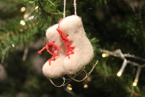 Felt Ice Skates Ornament - White
