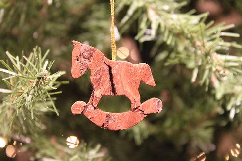 Bark Rocking Horse Ornament