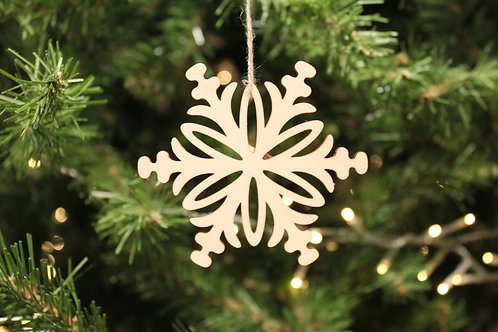 Wood Laser-cut Snowflakes - Leaves (Small)