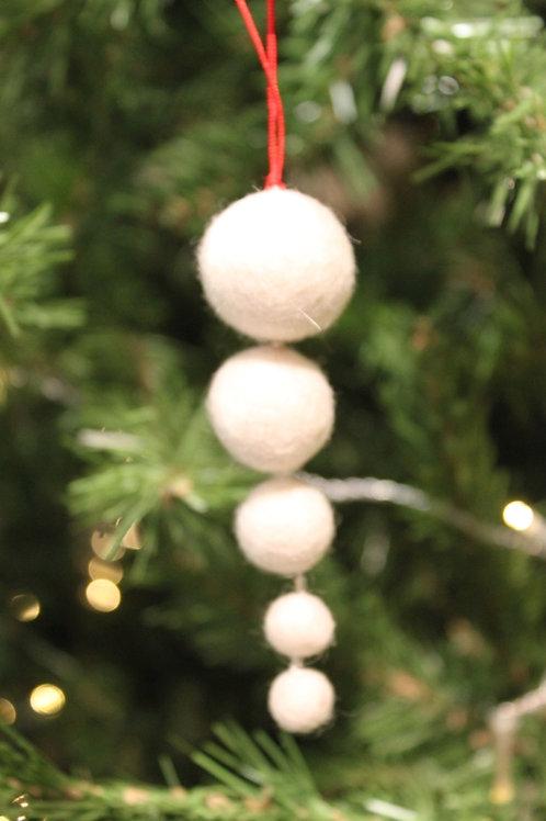 Felt Icicle Ornament - White