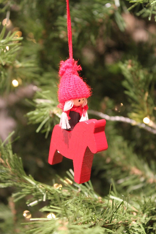 Swedish Girl on Dala Horse Ornament