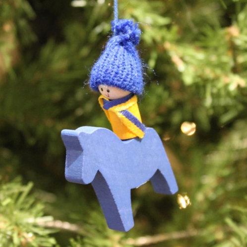 Swedish Boy on Dala Horse Ornament