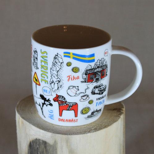 Sweden Text/Drawing  Mug
