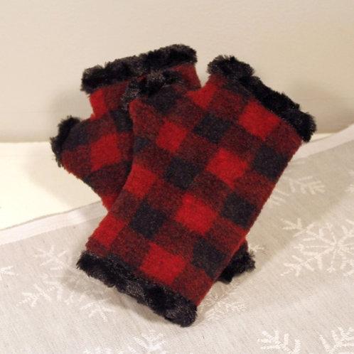 Buffalo Plaid Fingerless Mittens - Red