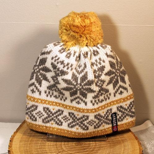 Rokk Norway Stocking Cap with Pom - Ochre & White