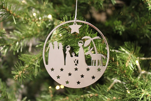 Nativity Circle Metal Ornament