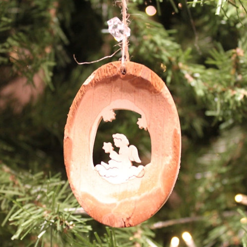 Bark Oval Angel Ornament