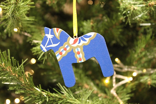 Blue Dala Horse Ornament
