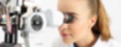 Optometrist using slit lamp