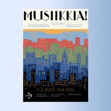 Musiikkia! -näyttelyn juliste ja muu ilme