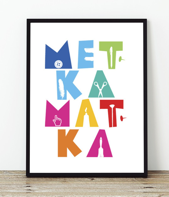 """""""Metka Matka"""", kuvittajanäyttelyn tunnus, julkaisu, kutsu ja muut näyttelymateriaalit"""