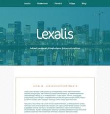 Lexalis-lakiasiaintoimiston logo, saitin ulkoasu ja muuta materiaalia